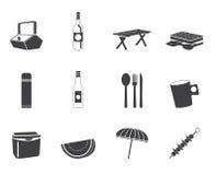 Εικονίδια πικ-νίκ και διακοπών σκιαγραφιών Στοκ Φωτογραφίες