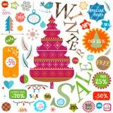 Τις χειμερινές πωλήσεις καθορισμένες τα διάφορα στοιχεία Στοκ εικόνα με δικαίωμα ελεύθερης χρήσης