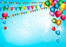 与气球和旗子的五颜六色的假日背景 免版税库存图片