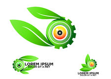 眼睛,叶子,植物学,齿轮,商标,绿色,视觉,标志,自然,关心,视觉,传染媒介,象,设计,集合 免版税库存照片