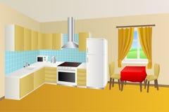 现代厨房室米黄黄色蓝色桌红色椅子窗口例证 库存图片