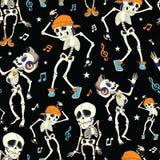 传染媒介跳舞骨骼党无缝的万圣夜 库存图片