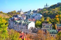 美好的镇风景,基辅,乌克兰 免版税库存照片