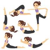 瑜伽摆在女孩集合 库存照片