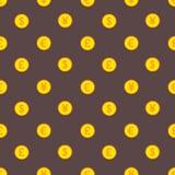 金黄美元、欧元、磅和日元硬币样式 库存图片