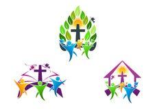 χριστιανικό λογότυπο εκκλησιών ανθρώπων, Βίβλος, περιστέρι και θρησκευτικό σχέδιο συμβόλων οικογενειακών εικονιδίων Στοκ Εικόνες
