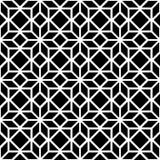 黑白简单的星形状几何无缝的样式,传染媒介 免版税库存照片
