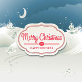 与冬天风景的圣诞卡 免版税库存图片