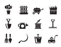 Εικονίδια εργαλείων κήπων και κηπουρικής σκιαγραφιών Στοκ φωτογραφίες με δικαίωμα ελεύθερης χρήσης