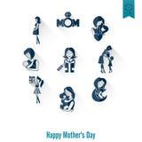 Ευτυχή εικονίδια ημέρας μητέρων Στοκ Εικόνες