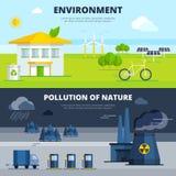 Εμβλήματα περιβάλλοντος και ρύπανσης καθορισμένα Στοκ φωτογραφία με δικαίωμα ελεύθερης χρήσης