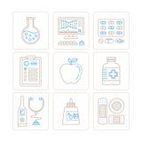 Σύνολο διανυσματικών εικονιδίων υγειονομικής περίθαλψης ή ιατρικής και έννοιες στο μονο λεπτό ύφος γραμμών Στοκ Φωτογραφίες