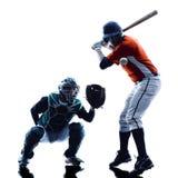 Изолированный силуэт бейсболистов людей Стоковое Фото