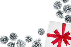 Κιβώτιο δώρων χρώματος πολυτέλειας για τον κώνο πεύκων περικαλυμμάτων μεταξιού γεγονότος διακοπών Στοκ φωτογραφία με δικαίωμα ελεύθερης χρήσης