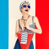 Блестящая дама Морской стиль Каникулы моды Стоковое Изображение RF