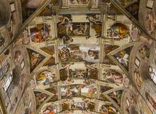 Интерьеры и детали Сикстинской капеллы, государства Ватикан Стоковая Фотография RF