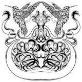 葡萄酒纹身花刺与蜂鸟、装饰书法元素和丝带横幅的艺术设计 维多利亚女王时代的主题 免版税库存图片