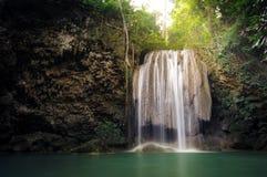 自然背景-在热带雨林的瀑布 库存照片
