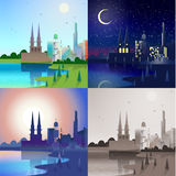 在被设置的城市场面的平的城堡:天,夜,日落,乌贼属 免版税库存照片