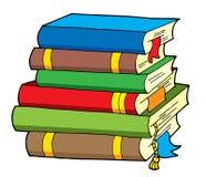 书多种颜色堆 免版税库存图片