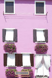 桃红色有几个窗口的被绘的墙壁 库存照片