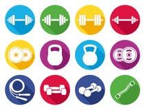 传染媒介现代平的健身和健身房颜色象 库存图片