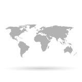 在白色背景的灰色世界地图 免版税库存图片