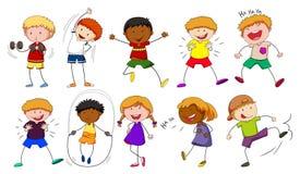Αγόρια και κορίτσια που κάνουν τις διαφορετικές δραστηριότητες Στοκ Φωτογραφίες