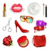 有化妆用品和辅助部件的红色夫人提包 免版税库存图片