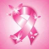 乳腺癌了悟桃红色丝带 免版税库存图片