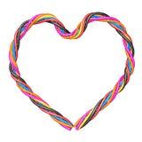 сердце компьютера кабеля пестротканое Стоковое Изображение