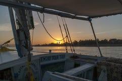 在尼罗河的日落 免版税库存图片