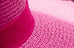 Ροζ σχοινιών ύφανσης καπέλων σύστασης Στοκ Εικόνες