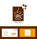 Комплект значка логотипа кофейной чашки Стоковое Фото