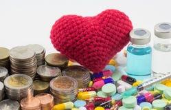 医疗保健花费了金钱硬币和票据与医学,疫苗和 免版税图库摄影