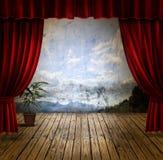 窗帘阶段天鹅绒 库存图片