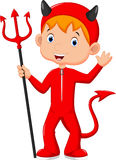 Χαριτωμένο μικρό παιδί που φορά ένα κόκκινο κοστούμι διαβόλων Στοκ Εικόνες