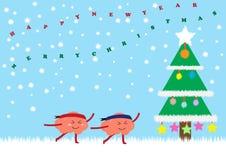Χριστουγεννιάτικο δέντρο με τον εορτασμό εγκεφάλου Στοκ Εικόνες