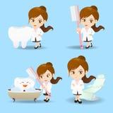 Γυναίκα οδοντιάτρων γιατρών κινούμενων σχεδίων Στοκ εικόνα με δικαίωμα ελεύθερης χρήσης