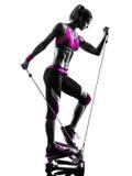 妇女健身步进锻炼剪影 免版税库存照片