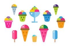 冰淇凌被设置的传染媒介象 图库摄影