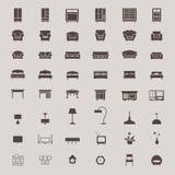 Επίπεδα έπιπλα εγχώριων συσκευών σκιαγραφιών και εσωτερική διακόσμηση Στοκ Εικόνα