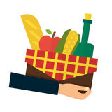 食物交付,网上命令 拿着篮子的手 库存图片