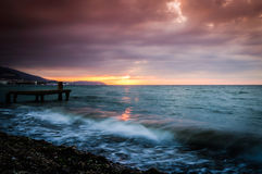 Спокойная окружающая среда захода солнца залива Стоковые Фотографии RF