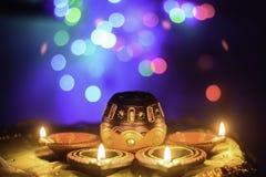 印地安节日屠妖节油灯装饰 免版税库存照片