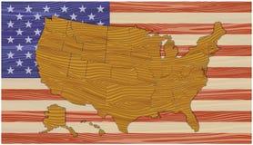 美国旗子的地图 库存图片