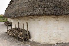 巨石阵的,萨利,威尔特郡,有淡褐茅屋顶和秸杆干草的英国陈列新石器时代的房子涂了墙壁 库存图片