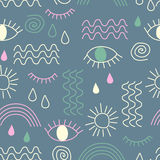 简单的与眼睛,波浪,太阳,下落,彩虹的传染媒介摘要无缝的样式 免版税图库摄影