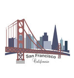 Логотип зданий горизонта Калифорнии Стоковые Фотографии RF