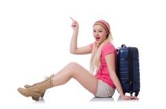Молодой турист при чемоданы изолированные на белизне Стоковая Фотография RF